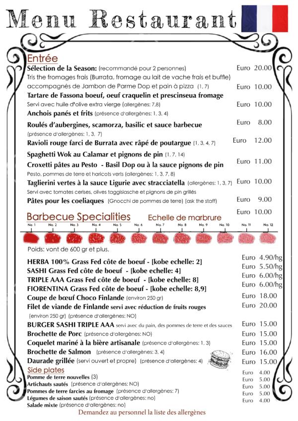 menu français ristorante genova